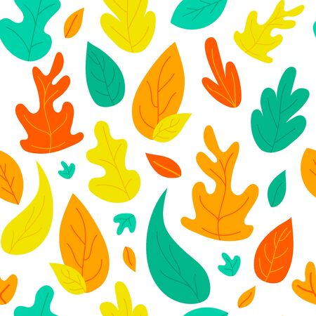 Abstract stylized autumn leaves seamless pattern