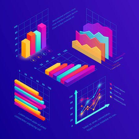 Isometric data tools finance diagram dark Stock Illustratie