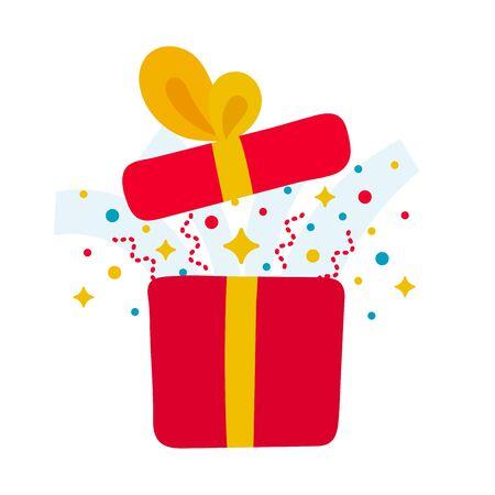 Hand drawn present opened gift box Stock Illustratie