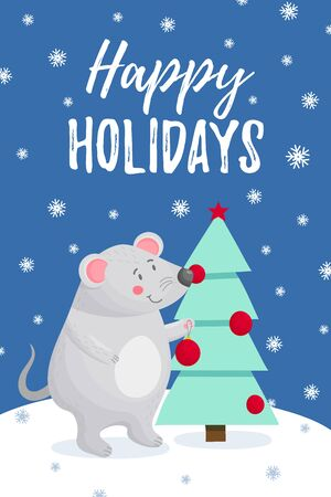 Happy holidays Greeting Card mouse Stock Illustratie