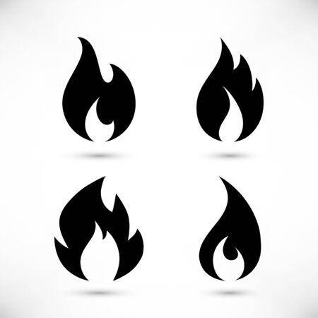 Gas blue flames simple icon set isolated on white background. Cartoon burning natural gas silhouette collection for web, game, logo design, app. Vector illustration