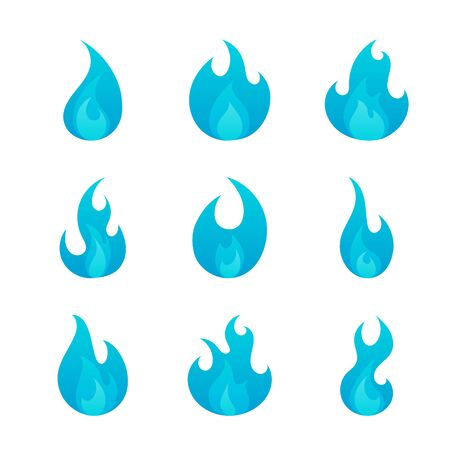 Gas blue flames flat icons set isolated on white background. Cartoon burning natural gas sign collection for web, game, design, app. Vector illustration Stock Illustratie