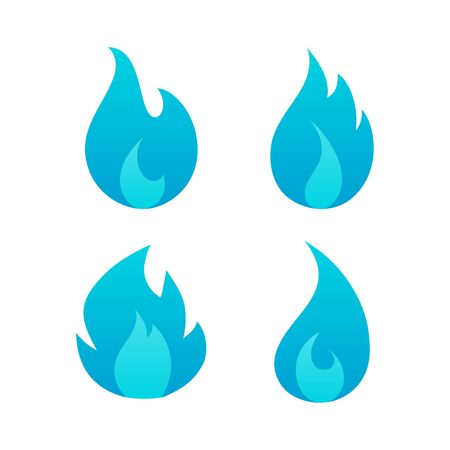 Gas blue flames flat logo set isolated on white background. Cartoon burning natural gas light effect elements collection for web, game, logo design, app. Vector illustration Stock Illustratie