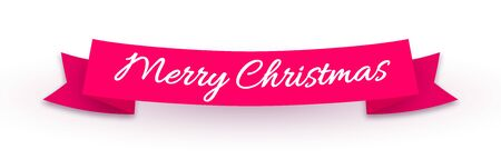 Red ribbon with realistic shadow and text isolated on white background. Merry Christmas decorative design element. Vector illustration Stock Illustratie