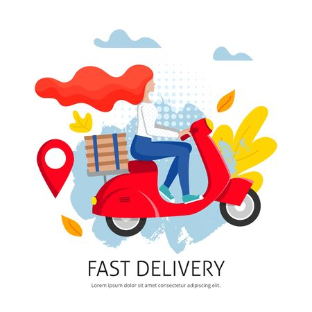 Fast city delivery on scooter. Express shipment concept. Redhead girl courier rides a moped with stack of boxes. Delivery service poster with female character. Vector illustration