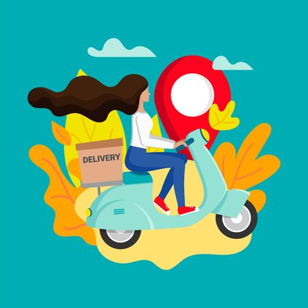 Express city delivery on scooter. Fast shipment concept. Girl courier rides a moped with parcel. Delivery service poster concept with female character. Vector illustration Stock Illustratie
