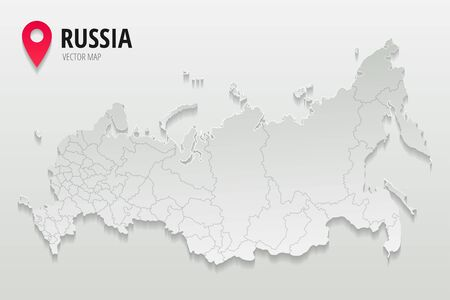 Russia administrative map with borders of regions trendy paper style isolated on gradient background. Vector illustration
