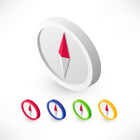 Vector compass icon isometric set colors
