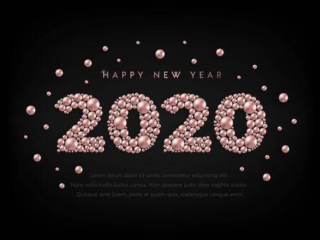 Happy New Year 2020 rose gold beads Stock Illustratie