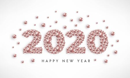 Happy New Year 2020 rose gold beads white