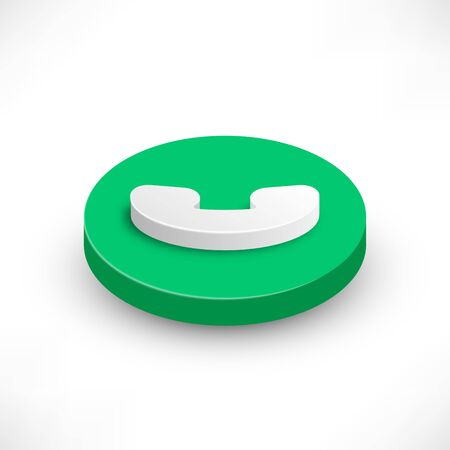 Phone Call isometric icon. 3d Style rounded green handset symbol isolated on white background. Button with shadow for design web interface, mobile app or website. Vector illustration