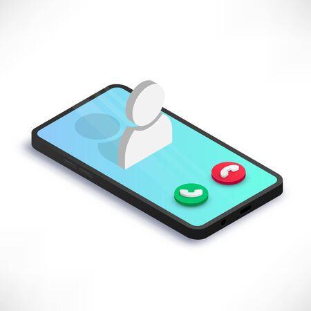 Incoming call on smartphone screen isometric concept isolated on white background. 3d mobile phone with call screen, user icon and buttons. Vector illustration for web, infographics, design, apps