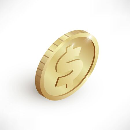 Isometric gold coin icon with dollar sign isolated on white background. 3d realistic cash, banking, casino money symbol for web, apps, design. Vector illustration