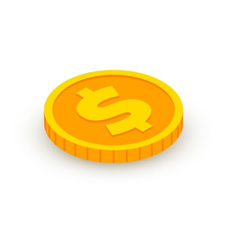 Isometric gold coin icon with dollar sign isolated on white background. 3d Cash, banking, casino money symbol for web, apps, design. Vector illustration Иллюстрация