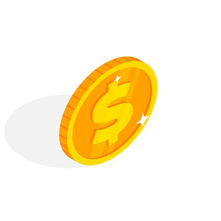 Isometric gold coin icon with dollar sign. 3d Cash, banking, casino money symbol for web, apps, design. Vector illustration