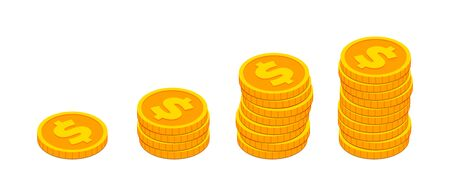 Isometric gold coins stacks like income graph. 3d Cash, banking, casino, business, financial, money concept isolated on white background for web, apps, design. Vector illustration Stock Illustratie