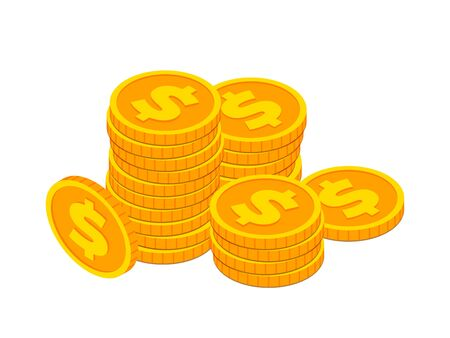 Isometric gold coins with dollar sign stack concept. 3d Cash, banking, casino money symbol isolated on white background for web, apps, design. Vector illustration