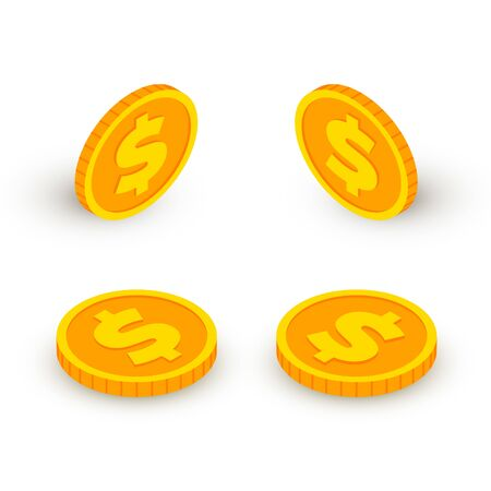 Isometric gold coin icon with dollar sign set isolated on white background. 3d Cash, banking, casino money symbol in different angles collection for web, apps, design. Vector illustration