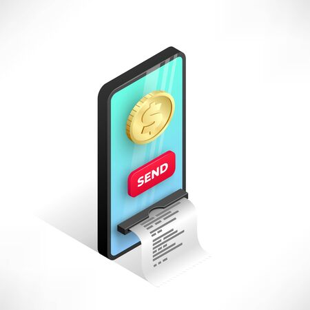 Online payment design concept. Mobile transfer isometric template with smartphone integrated ATM, gold coin and button. Internet banking, sending money vector illustration for web, apps, advert