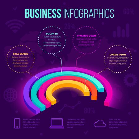 Isometric business infographic pie chart
