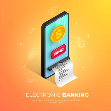 Electronic banking banner design. Mobile transfer isometric template with smartphone integrated ATM, gold coin and button. Online payment concept, sending money vector illustration for web, apps, ad Illusztráció