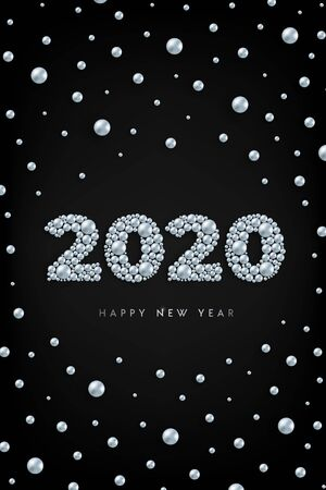 Happy New Year 2020 silver beads vertical