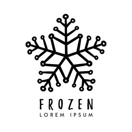 hand drawn snowflake logo design Stock Illustratie