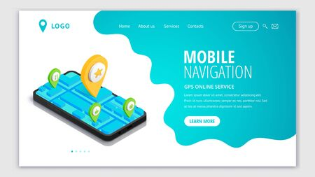 Mobile Navigation web page isometric concept. GPS city map app. 3d Smartphone with route map, pin on screen. Location service design landing template. Vector illustration for web site, app, advert Stock Illustratie
