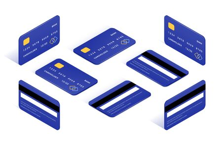 Credit card isometric icons big set. 3d Side and top view bank cards with shadow isolated on white background. Money on plastic. Online shopping vector illustration for web, apps, infographics Stock Illustratie
