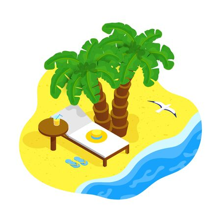 Isometric sea coast concept. Palm trees, beach lounger, table with glass of juice, seagull on toropical sandy beach. Summer vacation, rest in paradise at the sea or ocean. Vector illustration