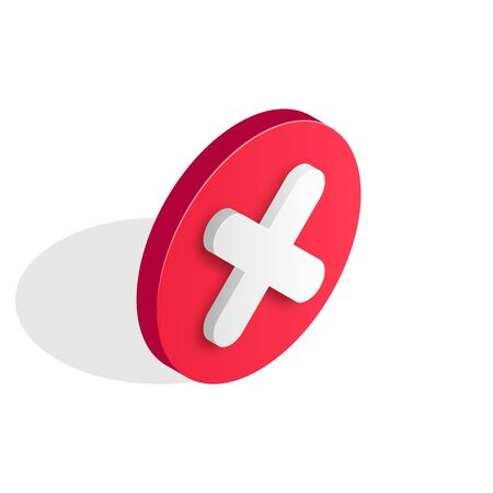 Checkmark isomtric icon. Wrong and failed decision, 3d error sign. Red X cross icon isolated on white background. Simple mark graphic flat design. Circle shape NO button. Vector illustration