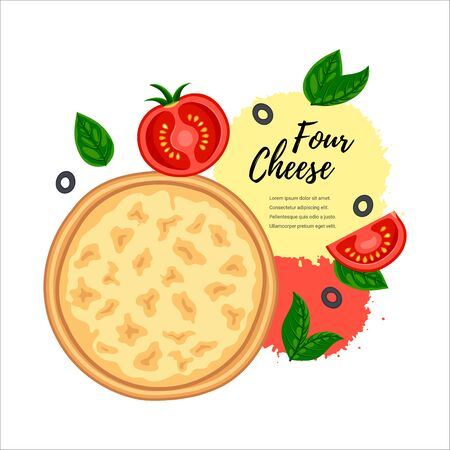 Hot pizza four cheese top view design. Flat tasty traditional italian fast food concept. Vector illustration for web, advert, menu, recipe Illustration