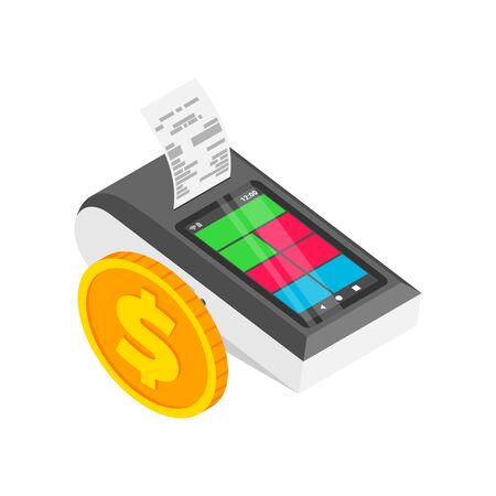Isometric smart payment terminal with cash register print receipt. 3d Wireless online cash desk tablet with check and gold coin isolated. Vector payments machine. Online shopping concept Vektorgrafik