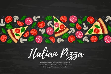Pizza slices and ingredients, text on black textured background. Food border with vegetables, sausage top view.