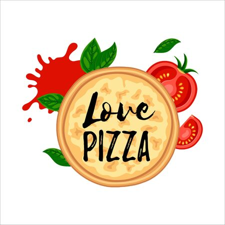 Love pizza four cheese top view design. Flat tasty traditional italian fast food concept. Vector illustration for web, advert, menu, app
