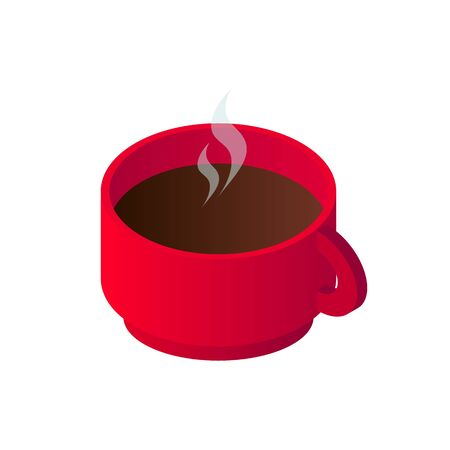 Isometric hot black coffee cup icon. 3d model americano in red cup isolated on white background. Vector illustration