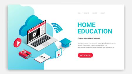 Home education, Learn Online, isometric landing page web design template. 3d laptop and education process concept. Distance training course, video webinar, online school vector illustration Иллюстрация