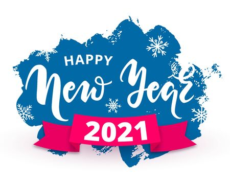 Happy New Year 2021 design concept with lettering, snowflakes and red ribbon on textured brush spots grunge background. Vector illustration for print, banner, advert, web, decoration, greeting card