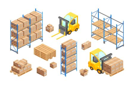 Isometric delivery warehouse vector illustration. 3d storage infographics, cargo logistics transport concept. Forklift, pallets, carton boxes, parcel, shelves isolated icon set for web site, app, adv