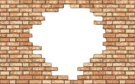 Fondo rotto realistico del muro di mattoni dell'annata. Foro nella struttura della parete piatta. Mattoni testurizzati gialli per web, design, arredamento, sfondo. Illustrazione vettoriale