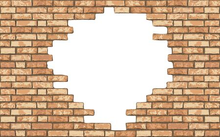 Vintage realistic broken brick wall background. Hole in flat wall texture. Yellow textured brickwork for web, design, decor, background. Vector illustration