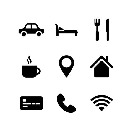 Travel icon set. City Travelling collection. Black car, coffee, cafe, transport, bank, hotel room symbols isolated on white. Vector illustration for web, app, infographics, social media