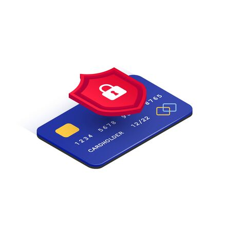E-payment protection concept. Credit card online security isometric icon. Secure transaction. 3d plastic card and shield with lock isolated on white background. Internet safety. Vector illustration Vector Illustratie