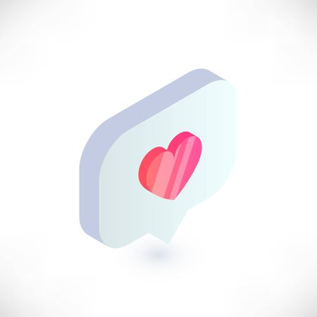 Isometric heart symbol in speech bubble. 3d notifications like counter vector icon. Social Media illustration for web, app, design, infographics Çizim