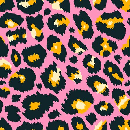 Trendy leopard seamless pattern. Abstract wild animal leo skin, pink cheetah texture for fashion print design, fabric, textile, wrapping paper, background, wallpaper. Vector illustration