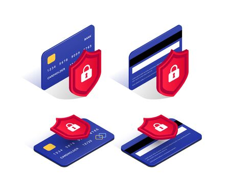 Credit card security isometric icon set. Electronic payment protection concept. Secure online transaction. 3d blue plastic card and shield with lock collection. Internet safety vector illustration