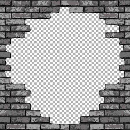 Vintage realistic broken brick wall transparent background. Black hole in flat wall texture. Gray textured brickwork for web, design, decor, background. Vector illustration