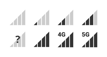 Signal strength indicator set, mobile phone bar status black icon. No signal symbol, 4g and 5g network connection level sign. Vector illustration for web, app, design interface.