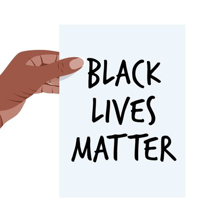 Black Lives Matter. Vector Illustration with text on white paper list in african woman hand. Protest against racism and social inequality concept. For social media, web, banner, tag. Illustration