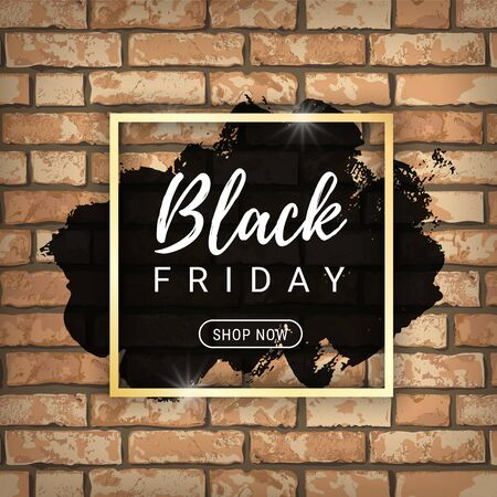 Black Friday sale banner design with black paint stain on orange grunge brick wall background. Shop now sale graphic poster. Vector illustration design template for flyer, shopping, discount, web. Stock Illustratie